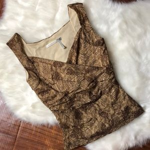 CLASSIQUES ENTIER Brown Lace Overlay Top
